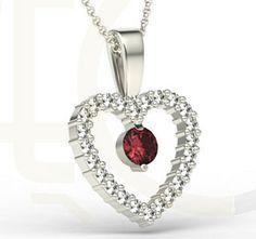 Wisiorek z białego złota w kształcie serca z rubinem i cyrkoniami / Heart-shaped pendant made from white gold with a rubin and zircons / 697 PLN #gold #pendant #heart #fashion #jewellery #jewelry #mother_day