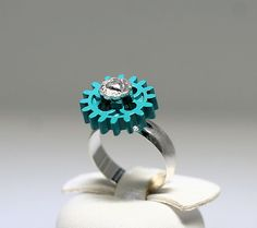 I love this !  Lego Ring Turquoise Gear with Silver Heart by ToyBoxJewellery.