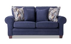 Blue Loveseat, Navy Sofa, Escape Space, My Escape, Cozy Living, Living Room Sets, Transitional Sofas, Accent Pillows
