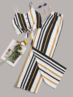 To find out about the Striped Cami Top With Wide Leg Pants at SHEIN, part of our latest Two-piece Outfits ready to shop online today! Cute Comfy Outfits, Cute Summer Outfits, Cute Girl Outfits, Pretty Outfits, Stylish Outfits, Girls Fashion Clothes, Summer Fashion Outfits, Teenage Outfits, Outfits For Teens