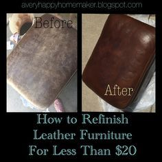 repair leather couch A Very Happy Homemaker Dont throw out scratched leather couches! Refinish them. Refurbished Furniture, Furniture Makeover, Diy Furniture, Rustic Furniture, Furniture Removal, Street Furniture, Furniture Online, Rit Dye Furniture, Furniture Projects
