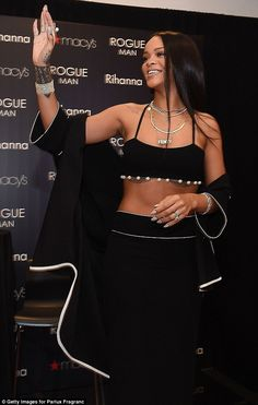 Rihanna flashes some flesh as she launches cologne line at the Rogue Man fragrance in Atlanta | Daily Mail Online