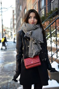 Fashion Blogger Alexandra In Dress From Stylekeepers, Jacket From Mango And Scarf From Zara