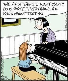 Funny piano lesson music humor. There is no way I could play the piano with my thumbs. Ha, ha, ha...