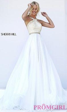 Sleeveless Long Sherri Hill High Neck Prom Dress at PromGirl.com