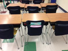 Chair covers to help organize students so they only keep necessary books/supplies on desk. Even a beginner can easily sew these.