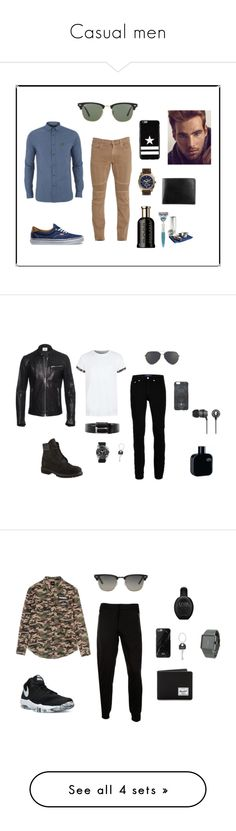 """""""Casual men"""" by fatimaamustafa on Polyvore featuring men, FASHIONMen, outfitsmen, outfitscasual, Belstaff, Vans, Ray-Ban, Lyle & Scott, HUGO y êShave"""