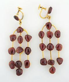 Polished Garnet Earrings Garnet Earrings, Drop Earrings, Wind Chimes, Costume Jewelry, Original Artwork, Auction, Polish, Canada, Pottery