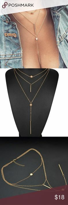 Three Tier Stick Pendant Available in silver or gold, link chain. Jewelry Necklaces
