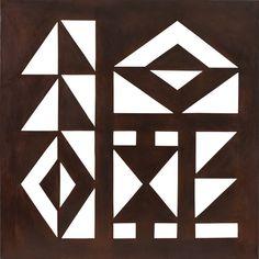 JORGE DOS ANJOS Simbolos - 76,5 x 76,5 cm - Aço Ass. Verso e Dat. 2014