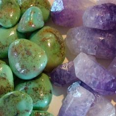 This...is...SOAP! Tumbled Turquoise Soap and Amethyst Crystal Soap. (Maybe for a rustic wedding. How cool.)