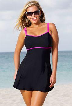 Beach Belle Cerise Plus Size Lingerie Swimdress - swimsuitsforall