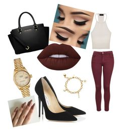 """"""""""" by ashbashhhh on Polyvore featuring MINKPINK, Topshop, Jimmy Choo, MICHAEL Michael Kors, Lime Crime, Rolex and Kate Spade"""