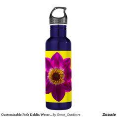 Customizable Pink Dahlia Water Bottle