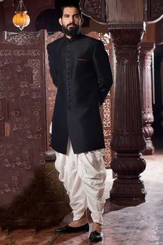 Buy Samyakk Black Silk Solid Indo Western Sherwani online in India at best price. Mens Indian Wear, Mens Ethnic Wear, Indian Groom Wear, Indian Men Fashion, Groom Fashion, Ethnic Fashion, Wedding Dress Men, Indian Wedding Outfits, Wedding Men