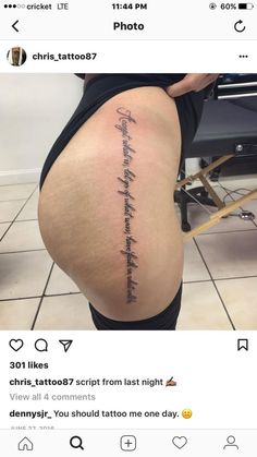 Side Hip Tattoos, Upper Thigh Tattoos, Hip Tattoos Women, Small Tattoos, Side Tattoos Women Quotes, Side Leg Tattoo, Side Thigh Tattoos Women, Tattoo Calf, Tigh Tattoo