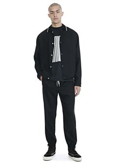 ALEXANDER WANG CHECKERBOARD WOOL JACQUARD COACH'S JACKET - BLACK. #alexanderwang #cloth #