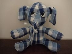 Blue/white check elephant doorstop made by Sheila.