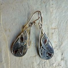 Drop sterling silver mixed rose gold filigree earrings. long drop earrings. on Etsy, $91.27 CAD