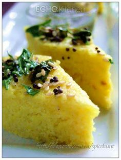 Dohkla (Gujarati Steamed Chickpea Cake)- is a famous snack in India, originally from the State of Gujarat. It is high in protein, a very healthy and sumptuous looking snack. The texture so fluffy and soft that it literally melt in your mouth! A good choice for afternoon snack or breakfast!    http://spicehunt.blogspot.sg/2011/11/dohkla-gujarati-steamed-chickpea-cake.html