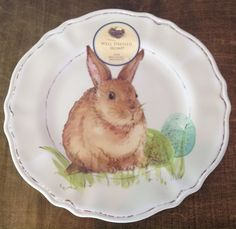 Well Dressed Home Easter Bunny Dinner Plates 100% Melamine NEW #WellDressedHome & New! Cottontail Lane Set of 4 Dinner plates - EASTER - Floral Bunny ...