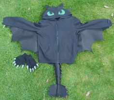 Toothless costume made from a hoodie and gloves