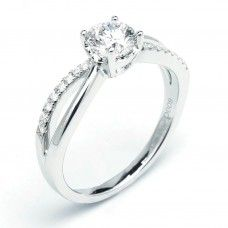 Split Band Four Prong Alternate Pave Diamond Engagement Ring (0.59 ctw)