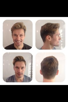 This trend you are seeing a lot lately with guys. I scissor over combed the back and maintain the length on top for him to coif back.