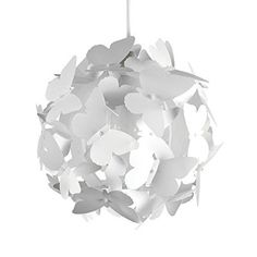 MiniSun - Moderner und weißer Lampenschirm für Kinderzimmer mit Schmetterlingenmotiv - für Hänge- und Pendelleuchte