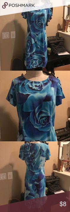 Vintage Blue Rose Dress Vintage blue dress with rose print. Vintage Dresses
