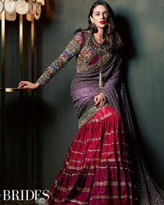 Aditi Rao Hydari in Brides Today - embroidered blouse with saree Indian Fancy Dress, Dress Indian Style, Indian Fashion Dresses, Indian Designer Outfits, Designer Dresses, Pakistani Dresses, Party Wear Lehenga, Bridal Lehenga, Wedding Sarees