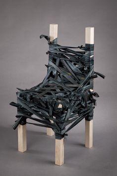 Nicole Mercurio- Strapped. Bicycle tire rubber, maple.