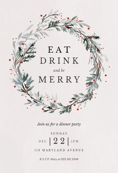 Free Holiday Party Invitation Template Best Of Holiday Wreath Christmas Invitation Template Free Free Christmas Invitation Templates, Christmas Dinner Invitation, Dinner Invitation Template, Christmas Party Invitations, Christmas Templates, Free Christmas Printables, Xmas Party, Holiday Parties, Free Invitation Maker