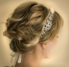 Prom hairstyles featuring headbands, feathers, bows and bobby pins