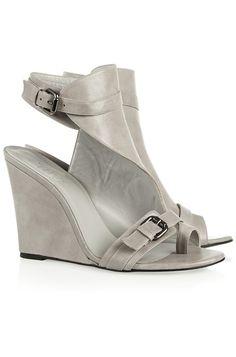KARL by Karl Lagerfeld Leather Wedge Sandals