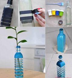 cam sise susleme geri donusum vazo diy dekor esya modeli | Kadınca Fikir