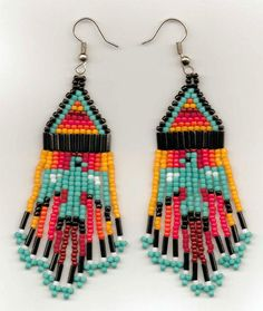 Native beadwork- Thunderbird earrings