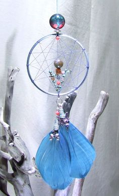 Tree of Life Wall Hanging Dreamcatcher Teal Feathers Indian Agate Salmon Coral Turquoise Beaded Silver Fairy Acorn Charm Mint Dream Catcher by TigerEmporium on Etsy