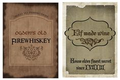 HP drink labels