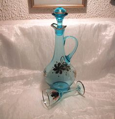 Beautiful vintage aqua decanter with bright by BlueRidgeAlteredArt, $15.00