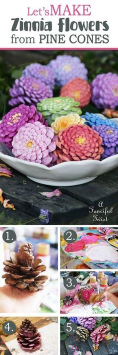 Bowlful Of Pinecone Flowers In Pastels