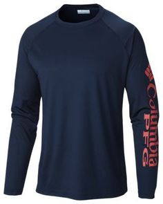61e5273d8f6 Columbia PFG Terminal Tackle Logo Long Sleeve T-Shirt for Men - Collegiate  Navy Sunset