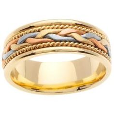 14k Tri-color Gold Men's Wedding Band | Overstock.com Shopping - Big Discounts on Men's Rings