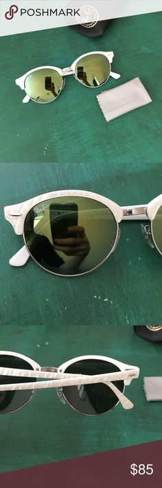 BRAND NEW white Ray-Ban Round Clubmaster Sunnies Never worn. Style: Round Clubmaster. Frame is turtle white. Lenses are Mirrored Green. Glasses come with original case and cloth for cleaning. Ray-Ban Accessories Glasses