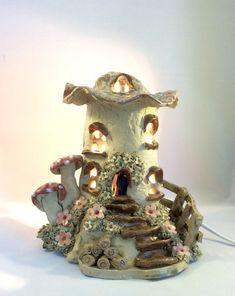Mushroom house lamp, nursery lamp, childs nightlight, table lamp.