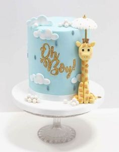 67 Ideas For Cake Designs For Boys Products - Birthday ideas - Kuchen Torta Baby Shower, Baby Shower Cakes For Boys, Baby Boy Cakes, Babyshower Cake Boy, Cake Designs For Boy, Boys 1st Birthday Cake, Giraffe Birthday Cakes, Happy Birthday, Giraffe Cakes