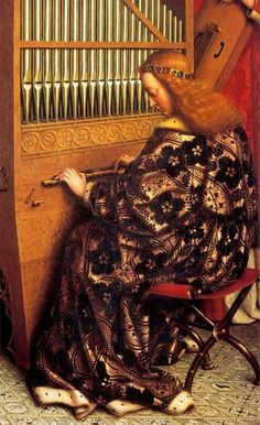 Het Lam Gods - Jan Van Eyck (1432) (detail: musicerende engelen) ~ ghent altarpiece: Singing Angels