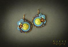 Blue soutache earrings  Bright earrings Women accessory by pUkke
