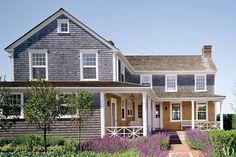 A rear terrace highlights the Nantucket home's spectacular views.