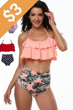 2018 Bikinis Women Swimwear High Waist Swimsuit Halter Sexy Bikini Set Retro Bathing Suits Plus Size Swimwear XXXL Sexy Bikini, Bikini Swimwear, Bikini Set, Women Bikini, Floral Bikini, Pink Bikini, Bikini Bottoms, Cute Swimsuits, Cute Bikinis